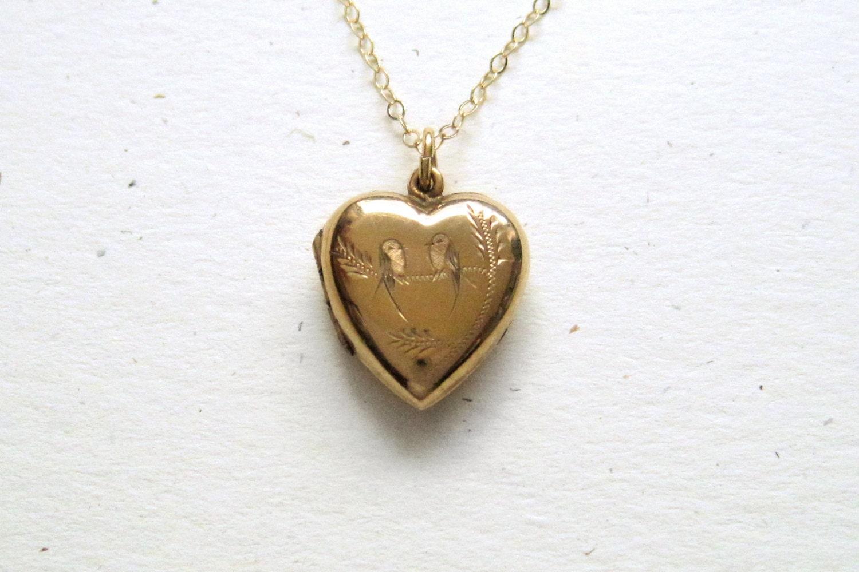 Vintage Heart Locket With Bird Engraving 9k Gold Back Amp Front