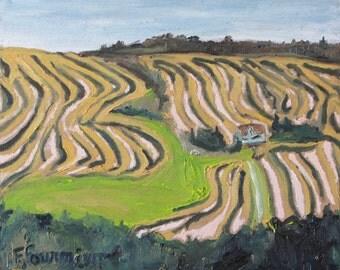 "Art Small Plein Air Landscape Oil Painting Original Impressionist Appalachian Eastern Townships Canada Fournier ""The Zigzag Field   10 x 12"