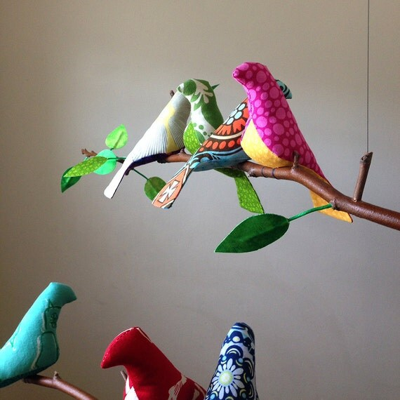Signs of Spring - 11 Bird Mobile in Bright Vibrant Colors with Leaves -  A Kinetic Beauty