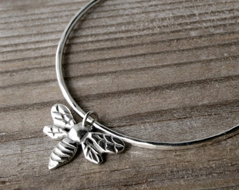 Honey Bee Bangle, Round Bangle, Solid Sterling Silver Bracelet, Bumble Bee Charm Bangle