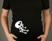 Halloween Baby Skeleton Maternity Shirt