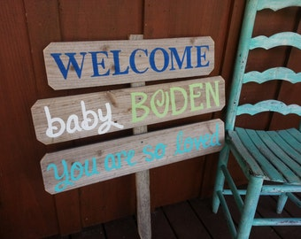 New baby yard sign etsy for Welcome baby home decorations