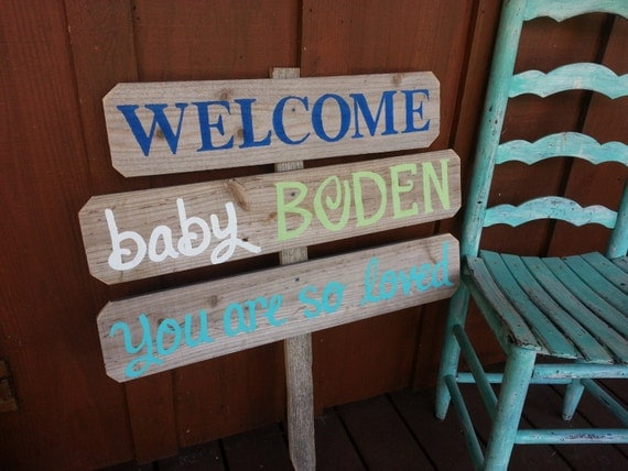 Items similar to baby shower gift welcome home baby lawn for Welcome home baby shower decorations