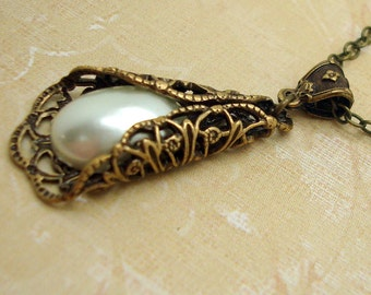 Neo Victorian Necklace with Folded Brass Filigree and Cream Manmade Pearls