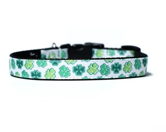 5/8 or 3/4 Inch Wide Dog Collar with Adjustable Buckle or Martingale in Little Bit of Luck