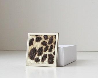 Animal print brooch, square brooch, faux fur jewelry, velvet animal fur brooch