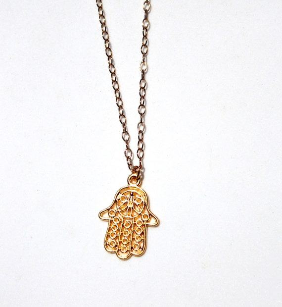 Gold Hamsa Pendant Necklace, Amulet Hand, Gold Hand Pendant Necklace, Long Pendant Necklace, Pendant Necklace, Gold Pendant Necklace