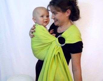 Ring Sling Baby Carrier - Pure Tencel - SuperWIDE and XL Chartreuse Green - DVD included - Only One