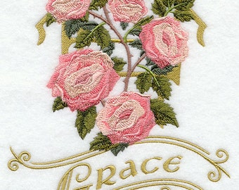 """Adult Sweatshirt - Embroidered - Victorian Pink Roses and """"Grace""""   -  U Pic Size and Collar"""