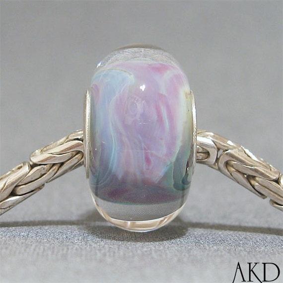 Lampwork Glass Bead Pink & Blue FitsTrollbeads Style Bracelet OOAK SRA Big Hole Bead Candy Coated