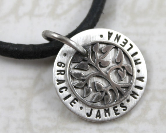 Personalized Mens Necklace, Small Charm, Family Tree of life with Children's Names, Gift for Dad, Sterling Silver, Black Cord