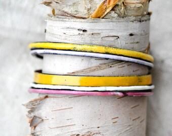 Handcrafted Bangle Set - 'Lolly' - 5 Piece Set - Jewel Toned Enamel Bracelets