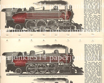 Vintage Book Plate - Trains  - double sided