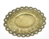 Filigree Cabochon Settings Wraps Connectors Embellishment 47x37mm jewelry findings large bronze