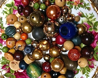 Vintage  bead mix  wood metal gemstone  drw325  yellow red white green  quantity 92