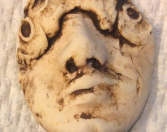 Handmade clay face    jewelry craft supplies  handmade cabochon    number 155  Zombie attack