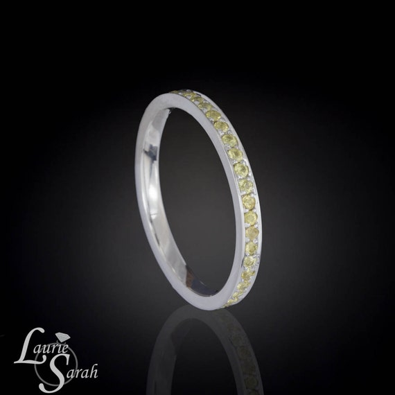 Yellow Sapphire Eternity Band - perfect for stacking, wedding band, or November Birthstone mothers ring - LS385