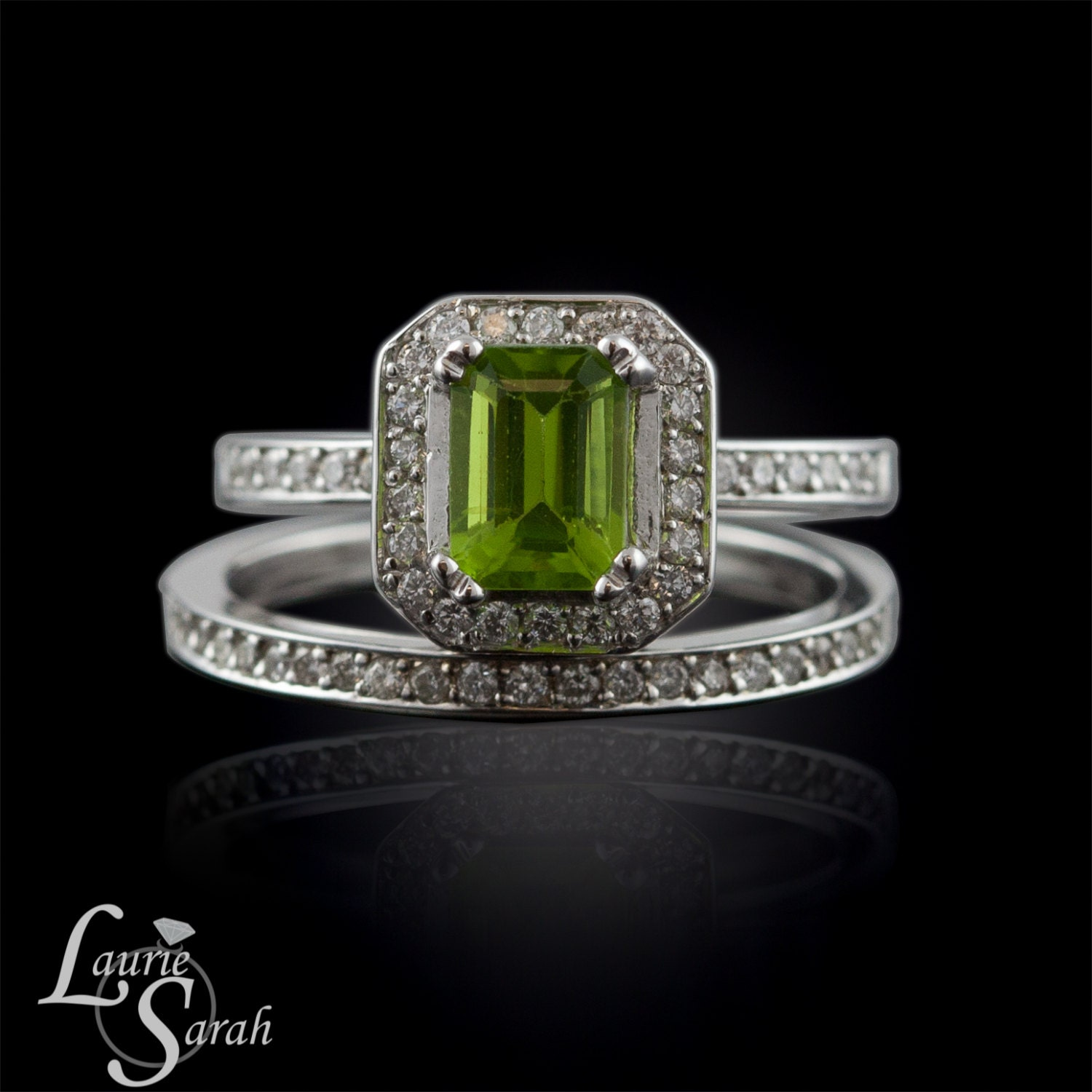 Wedding ring set with peridot and diamond engagement ring and for Peridot wedding ring set