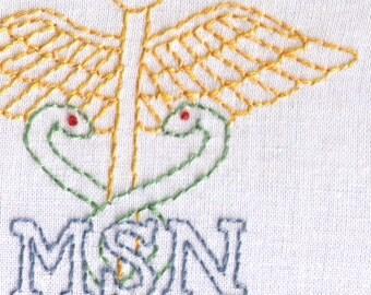 Nurse Hand Embroidery Pattern, MSN, Medical Personal Badge, Nurse, PDF