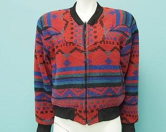 Vintage 80s Geometric Cropped Southwestern Jacket  m