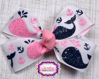 Pink and Navy Glitter Whales Hair Bow 2.5 Inch Pinwheel Boutique Hair Bow for Babies Toddlers Girls Hair Bows