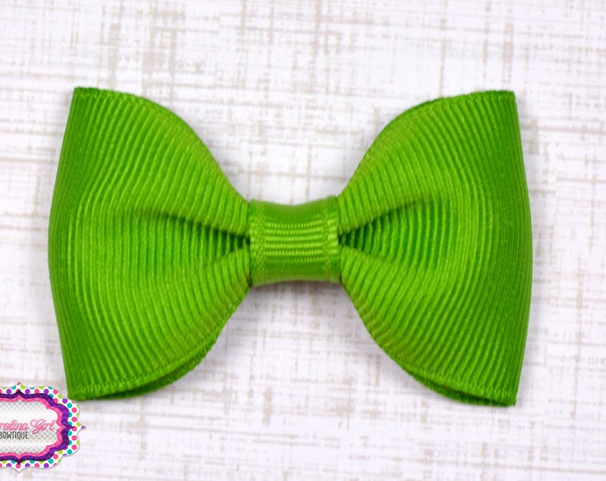 "Apple Tuxedo Bow  ~ 2.5"" Hairbow ~ Small Hair Bow ~ Girls Barrette ~ Toddler Bow ~ Baby Hair Bow ~ Hair Clip ~ Girls Hair Bow"