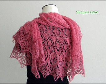 Pink Flowers - handmade knit shawl - Green Jade beads - angora silk luxury wool scarf - knitted lace wrap