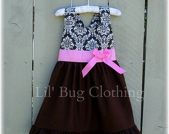 Custom Boutique Clothing RememberIluvyou2  Cocoa Pink Damask Jumper Dress