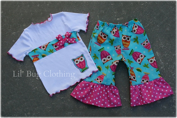 Custom Boutique Clothing Lil' Owl Aqua Pink Dot Tee and Capris Summer