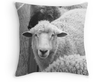 "Sheep Decorative Pillow Cover, Home Decor, Photo Pillow Cover 16"" 18"" 20"" Square Throw Pillow, Landscape, Black and White Throw Pillow Cover"