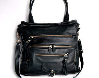 Willow leather tote bag in black - gold tone hardware