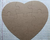 Extra Large 8 Piece Heart Shaped Jigsaw Puzzle Bare/Unfinished chipboard diecuts 9 x 8 inches approx
