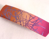 Polymer Clay Hair Barrette  Silk Screen Skinner Blend  Pink Purple Orange Peach Clip