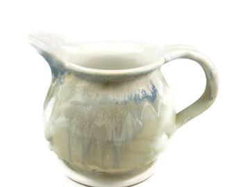 Large Pastel Ceramic Pitcher - Pale Blue Jug - Over a Quart - Handmade Wheel Thrown Clay Pottery - Ships Today