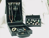 Faux Black Leather Jewelry Travel Case - Used - Holds necklaces, bracelets, rings and more - all parts included - with security lock