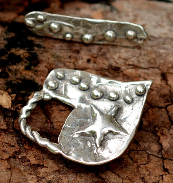 Artisan Heart and Star Sterling Silver Toggle