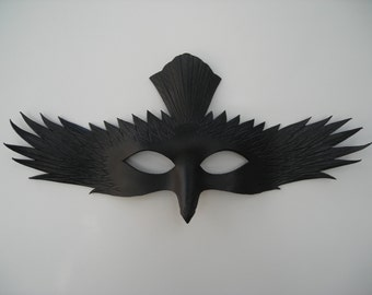 Leather soaring Raven mask