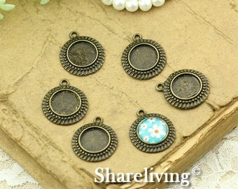 10pcs Antique Bronze 12mm Round Cameo Base Setting Charm / Pendant AS262