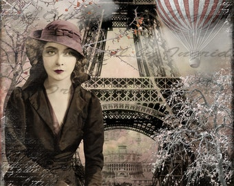 Beauty in Paris Digital Collage Greeting Card (Suitable for Framing)