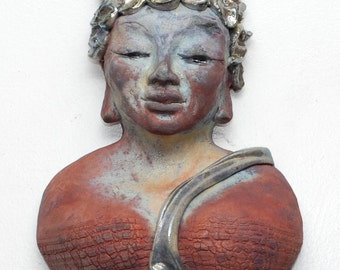 Wall Art, Buddha Figure, Kwan Yin Wall Hanging in Raku Ceramics Peace Meditation