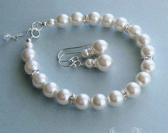 Bridal Pearl Bracelet and Earrings Set for Bride or Bridesmaids - Bridal Bracelet Set in White or Ivory Pearls - Wedding Jewelry
