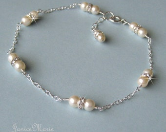 Bridal Pearl Anklet, Crystal and Pearl Ankle Bracelet, Dainty Pearl Anklet in White or Ivory Pearls, Bridal Wedding Jewelry by JaniceMarie