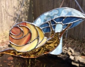 Stained Glass Snail with Mushroom Sun Catcher