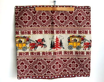 Vintage Textiles Pillow Cover German EmbroideredTrim Red Folk Art Hearts Pine Tree Horse and Carriage Christmas Decor Cottage Chic