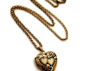 Gold Heart Locket - Pretty Double Heart Locket Necklace