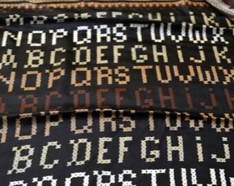 Vintage Echo Silk Alphabet Scarf in Brown and Black  26 inch Sq