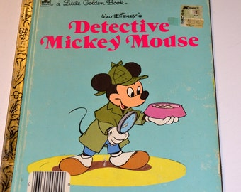 Vintage Children's Book Detective Mickey Mouse  Little Golden Book
