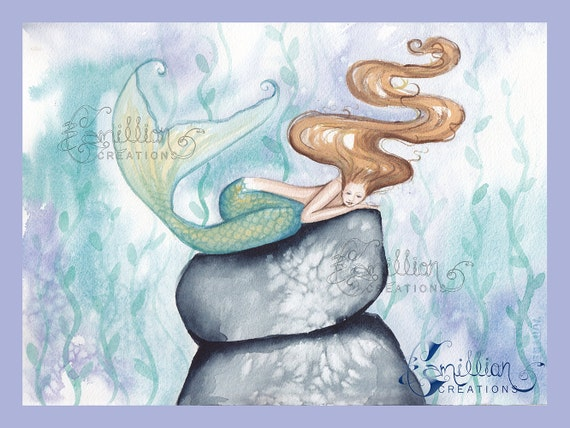 Sleepy Sea Mermaid Original Watercolor Painting by Camille Grimshaw