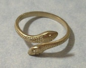 Snake Ring Unfinished Raw Brass Two Headed Snake Ring with Rhinestone Cavities Adjustable Serpent Ring Setting