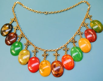 Rare unique one-of-a-kind necklace of goldcolor metal chain with 12 multicolor cabuchons of genuin tested vintage 1950s bakelite plastic